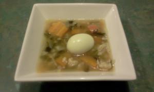 Chicken Bone Broth & Hard-boiled Egg