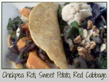 Chickpea Roti, Sweet Potato, Red Cabbage