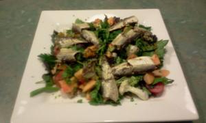 Sardines, Watercress, Baby Kale, Pumpkin, Roma Tomato, Spring Onion, Nuts & Seeds, Lemon Juice, Nori Flakes