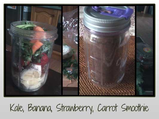 Kale, Carrot, Strawberries, Banana