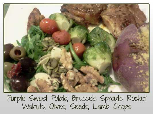 Purple Sweet Potato, Brussels Sprouts, Rocket Walnuts, Olives, Seeds, Lamb Chops