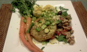 Veggie Burger, Carrots, Cauliflower, Rocket Salad