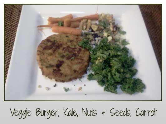 Veggie Burger, Kale, Nuts, Seeds, Carrot