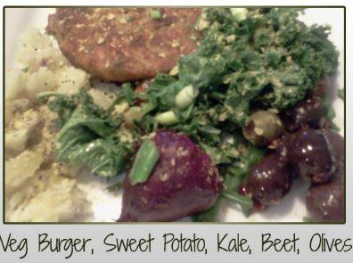 Veg Burger, Sweet Potato, Kale, Beet, Olives