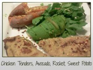 Chicken tender, avocado, rocket, sweet potato