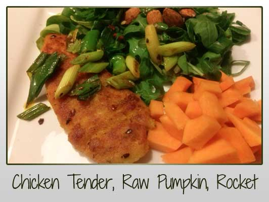 Chicken Tender, Raw Pumpkin, Rocket