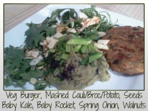 Veggie Burger, Mashed Cauliflower, Broccoli, Potato, Sunflower Seeds, Pumpkin Seeds, Nori Flakes, Flaked Almonds, Walnuts, Baby Rocket, Baby Kale, Spring Onion