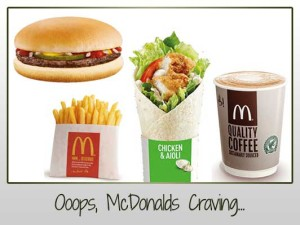 McDonalds Burger, Wrap, Fries, Latte