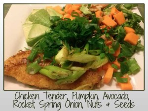 Chicken Tender, Pumpkin, Avocado, Rocket, Spring Onion, Nuts & Seeds