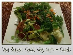 Veg Burger, Salad, Veg, Nuts & Seeds