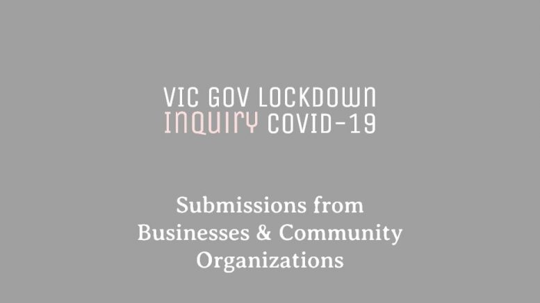 VIC Government (Inquiry into COVID-19 response) Business & Community Impact