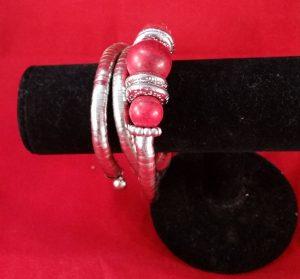 Adult, Red/Silver Bracelet / Bangle.  (Never-Worn)