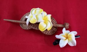 Balinese Hair Piece – Hand-Carved from Coconut Wood – Barrette + Matching Flower HairClip