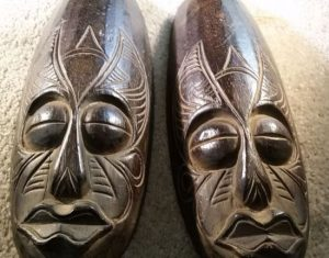 Pair of 2 Balinese Wooden Masks / Wall Art