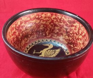 Wooden Bowl (Fruit Bowl) Bird Pattern – Deep, (23cm x 14cm) (Ex-Shop Stock)