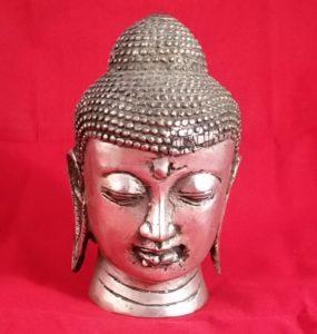 Silver Buddha head statue / table ornament  [PJ]
